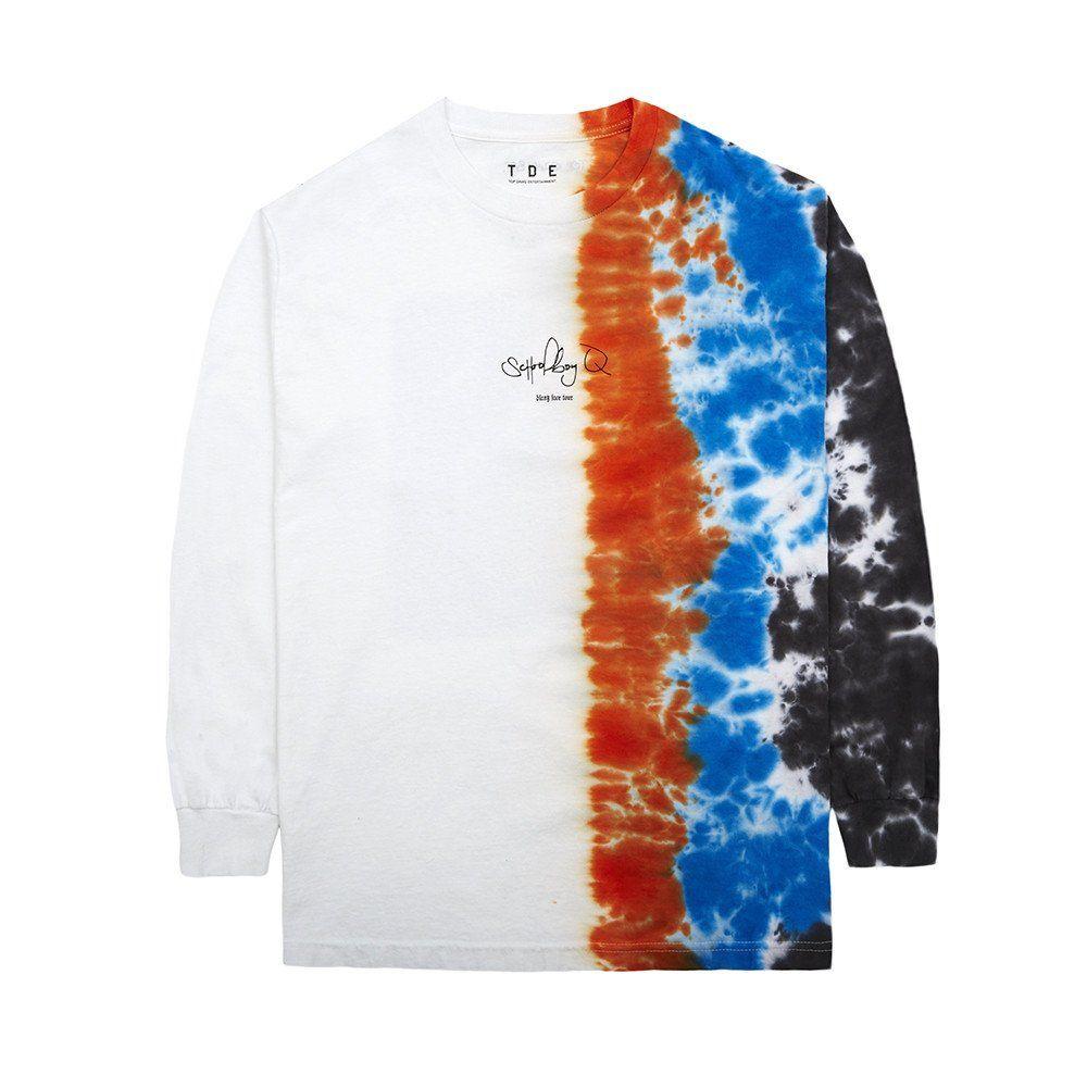 b24cb5fc9199 Half Tie-Dye T-Shirt (White)   Long Sleeve Tees   Half shirts, Tie ...