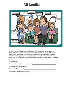 My family worksheet mi familia foreign language resources this worksheet is for your students to practice family members for beginner students it includes a short reading comprehension questions word search ibookread ePUb