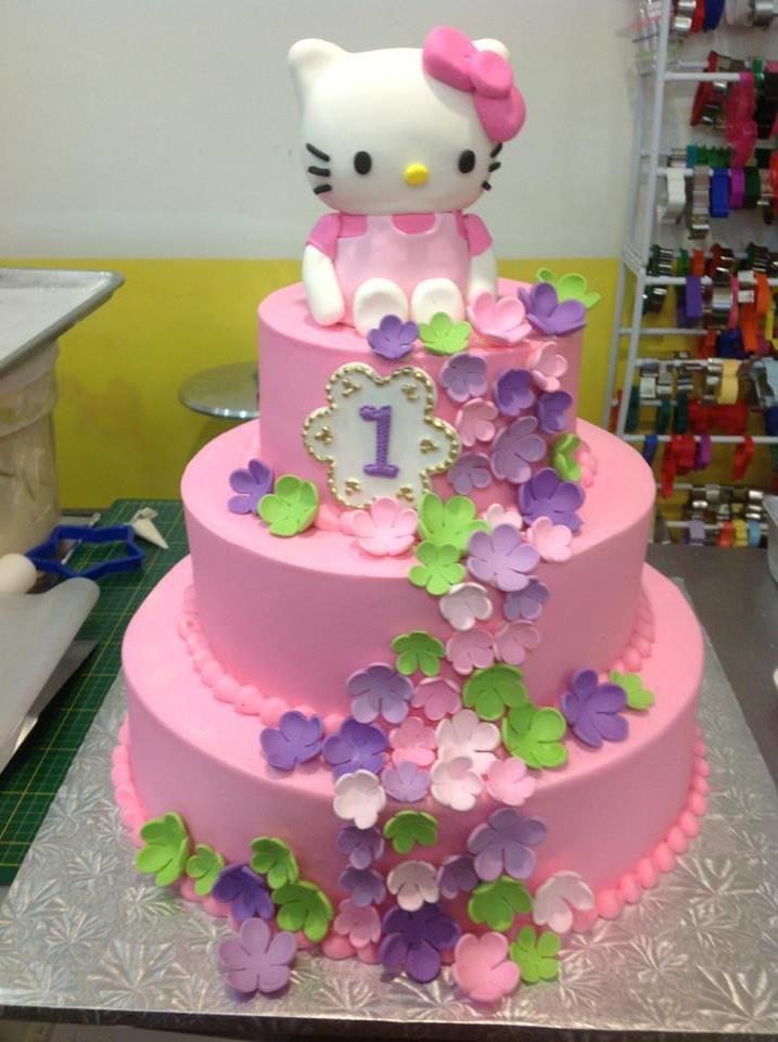 Hello Kitty Theme For A 1 Year Old Sugarnomics Cake Studio Guam Little Girl Cakes Hello Kitty Birthday Party Birthday Cake Kids