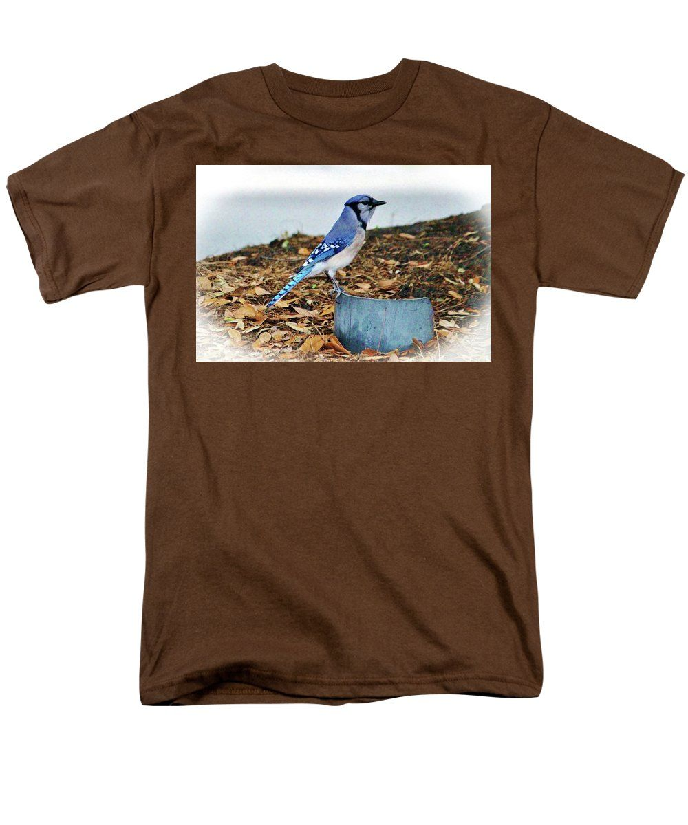 Blue Jay Men's T-Shirt (Regular Fit) featuring the photograph On The Look Out by Cynthia Guinn
