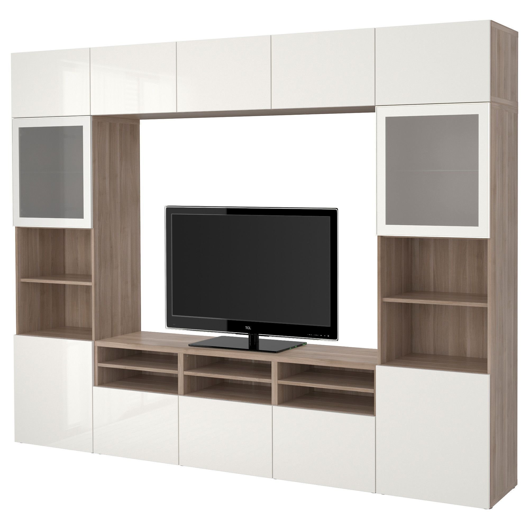 Ikea Muebles Modulares BestÅ Tv Storage Combination Glass Doors Walnut Effect Light Gray