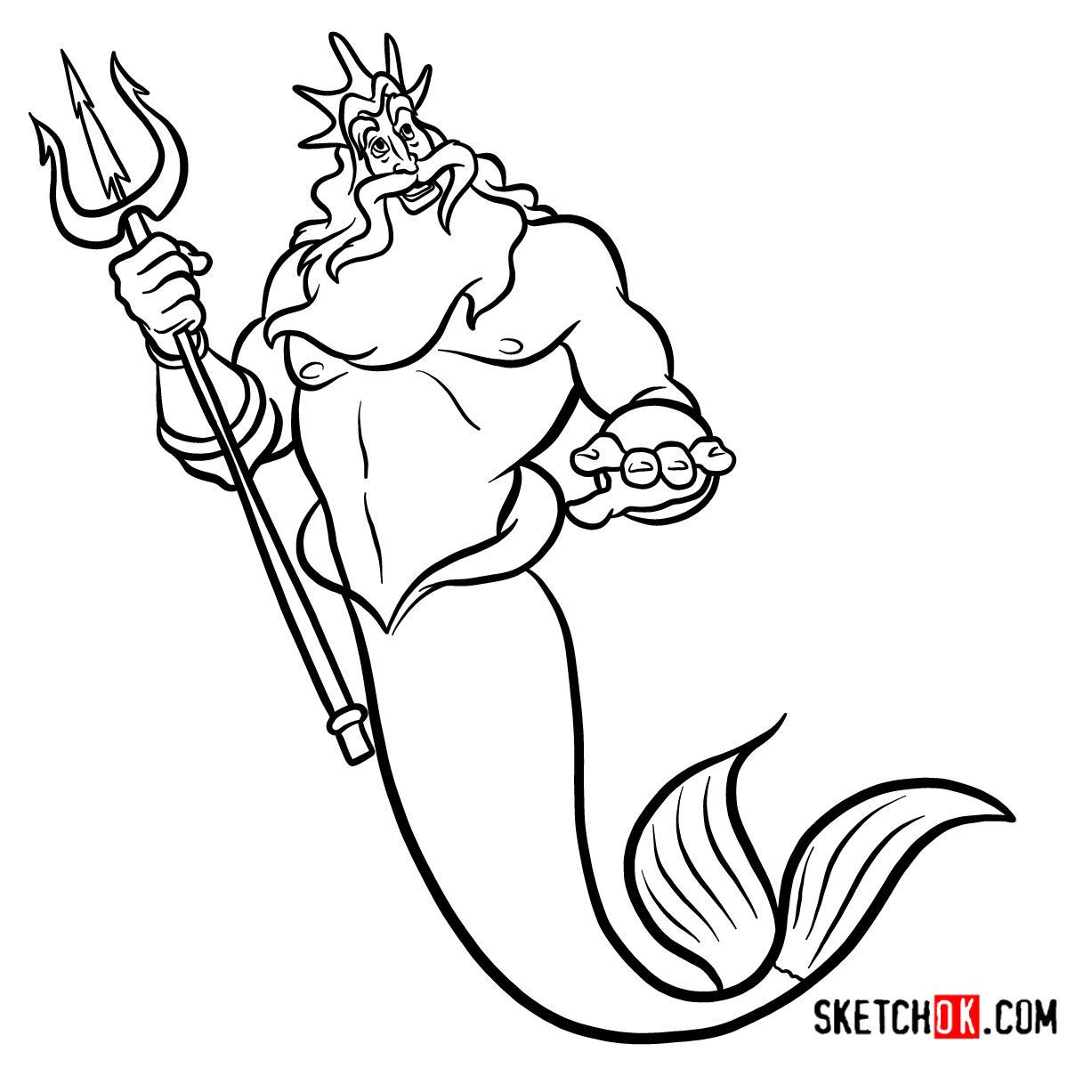 How to draw King Triton  The Little Mermaid - Step by step