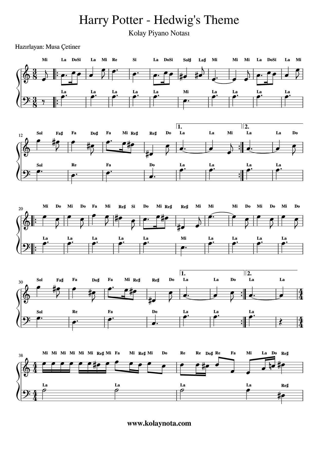 Harry Potter Hedwig S Theme Kolay Piyano Notasi Kolaynota Com Nota Arsivi Pi Yano Harry Potter Muzik Notalari