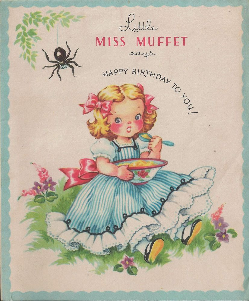 Little Miss Muffet Birthday Card and Small Storybook With Cute ...