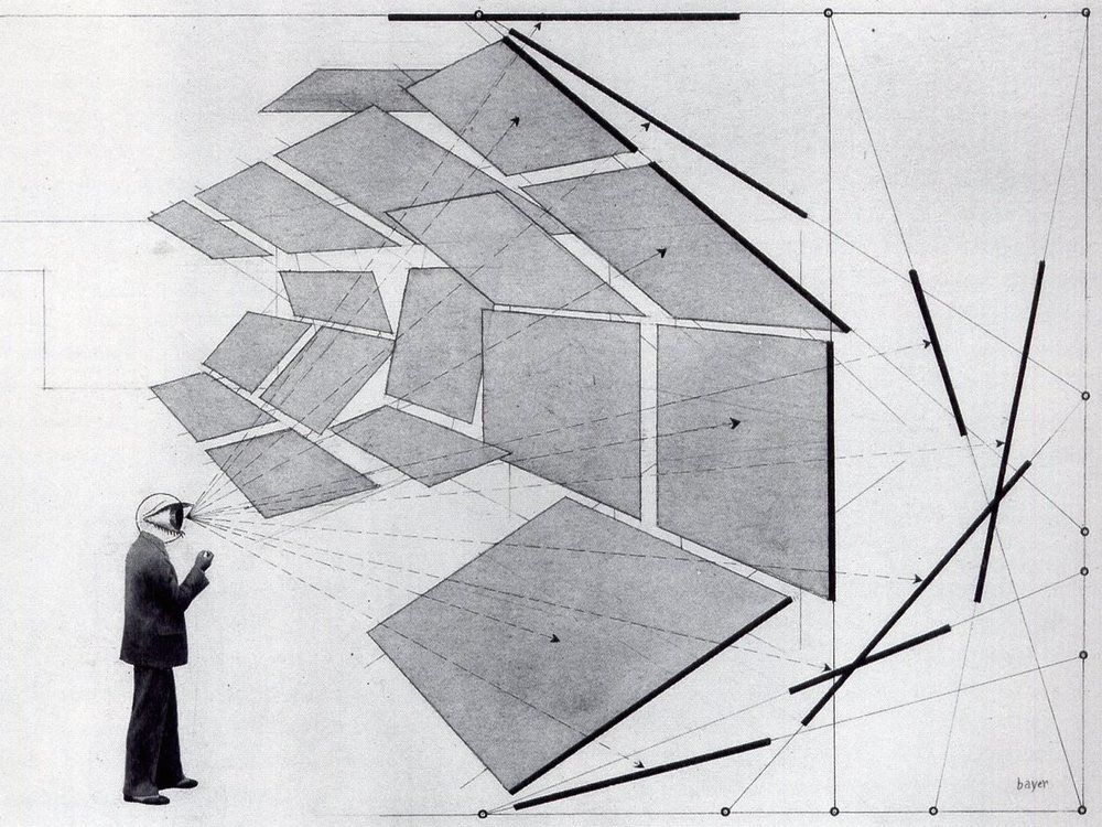 Line Drawing Of Your House : Herbert bayer diagram of degrees field vision