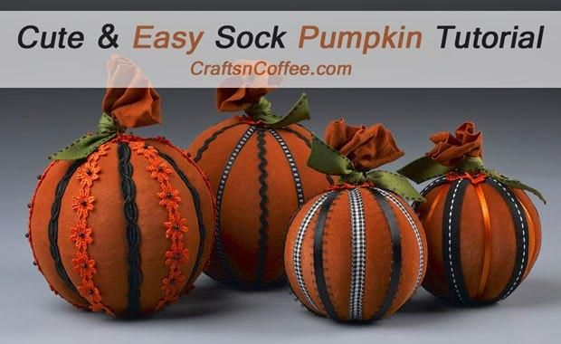 DIY Halloween Crafts  DIY Sock  Ribbon Pumpkins DIY Hallowen - easy halloween pumpkin ideas