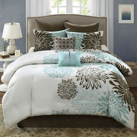 Anya Collection Soft And Durable 8 Piece Blue And Brown Floral