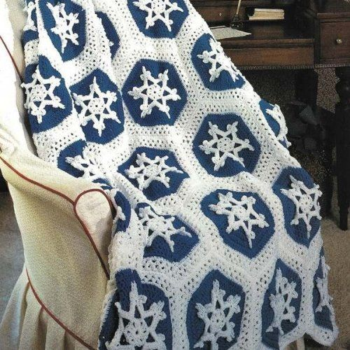 2 Crochet Afghan Patterns Peppermint and Snowflakes