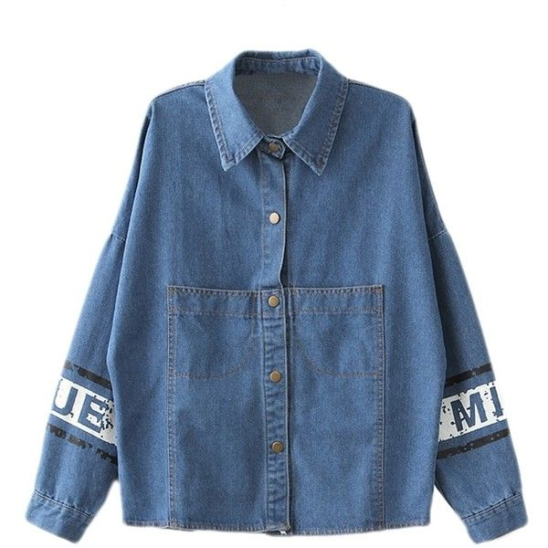 Blue Loose Ladies Cute Mouse Printed Denim Lapel Coat (£18) ❤ liked on Polyvore featuring outerwear, coats, tops, blue, lapel coat, blue coat and denim coat