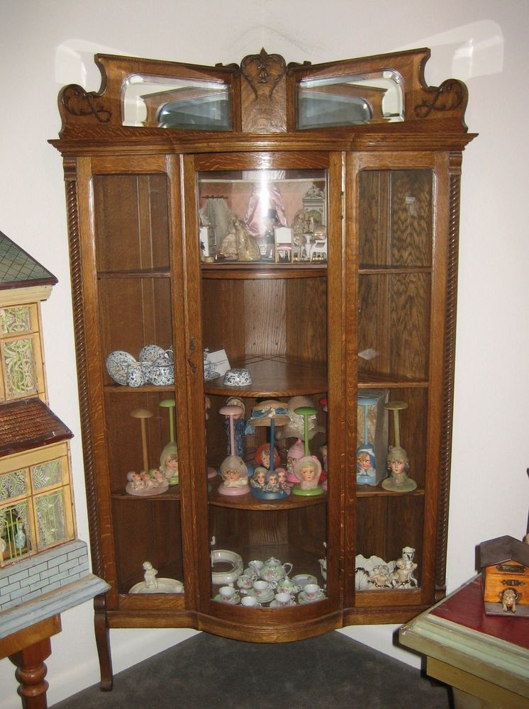 Antique American oak corner bowed glass display cabinet in Antiques   Furniture  Cabinets   Cupboards. Antique American oak corner bowed glass display cabinet in