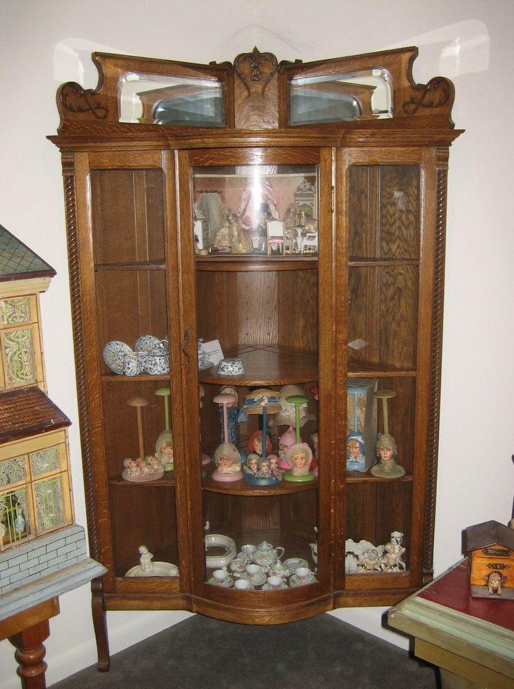 Antique American oak corner bowed glass display cabinet in Antiques,  Furniture, Cabinets & Cupboards | eBay - Antique American Oak Corner Bowed Glass Display Cabinet In Antiques