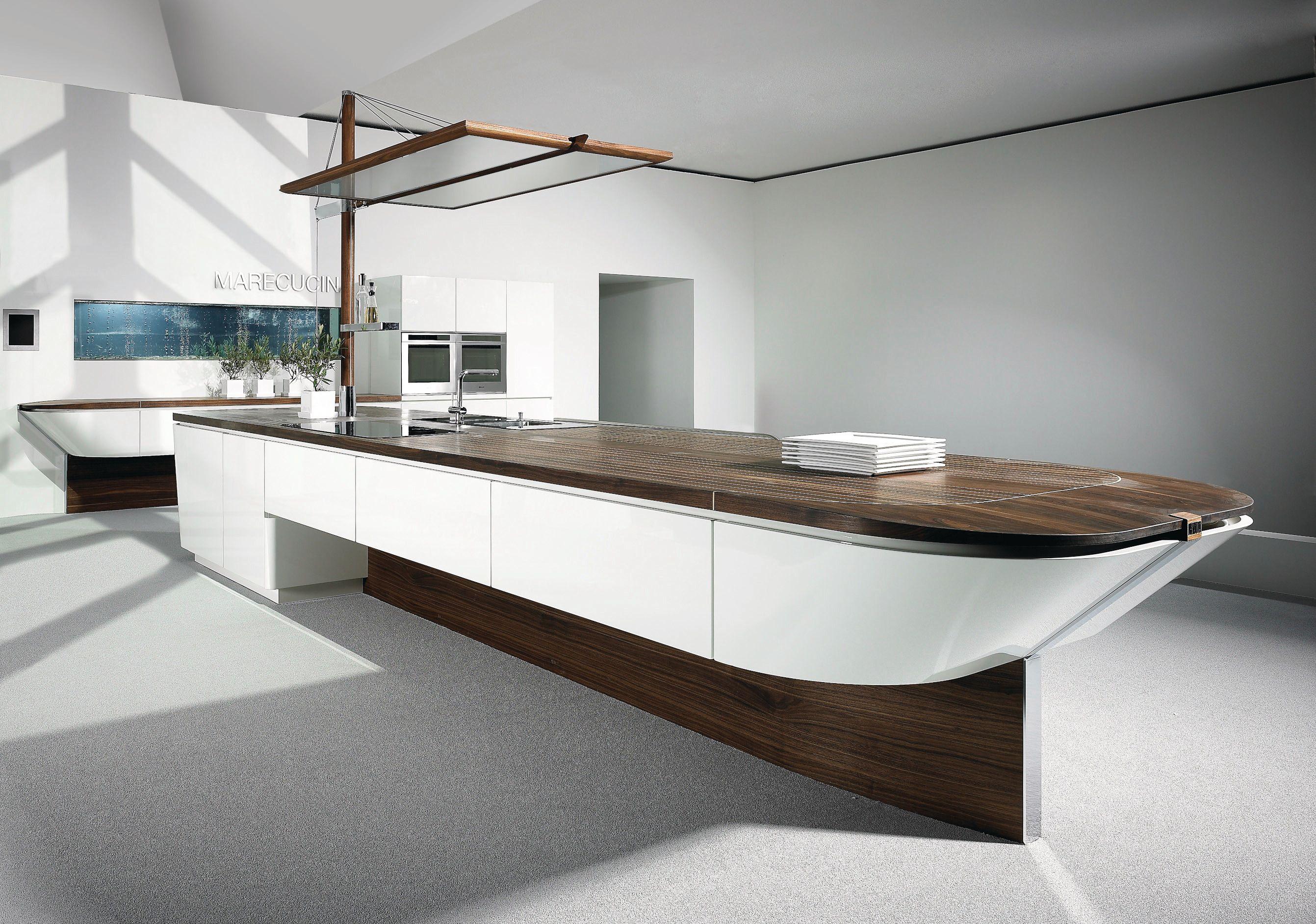 Fontile Kitchen - interesting design. Boat like, wood counters ...