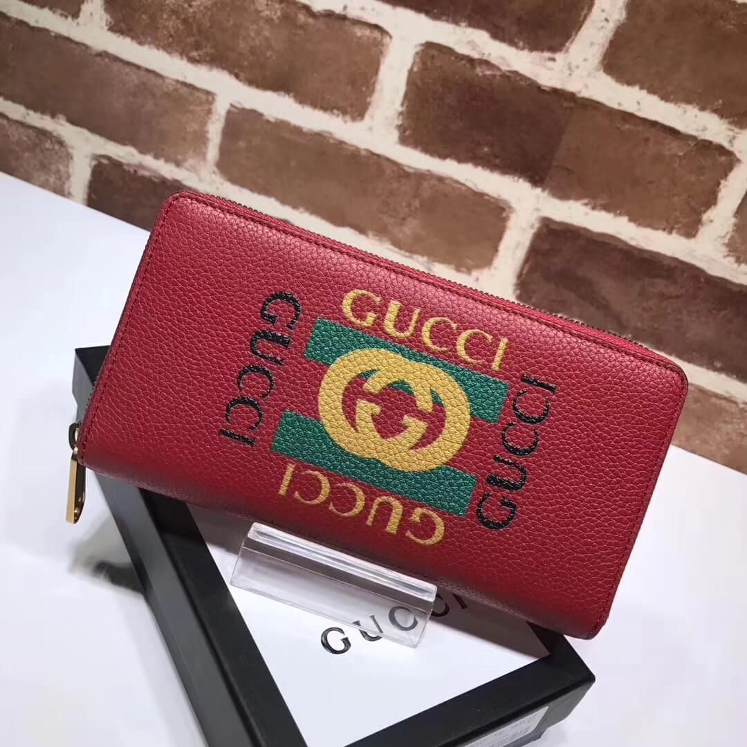 Gucci logo leather zip around wallet 496317 red 2017 with