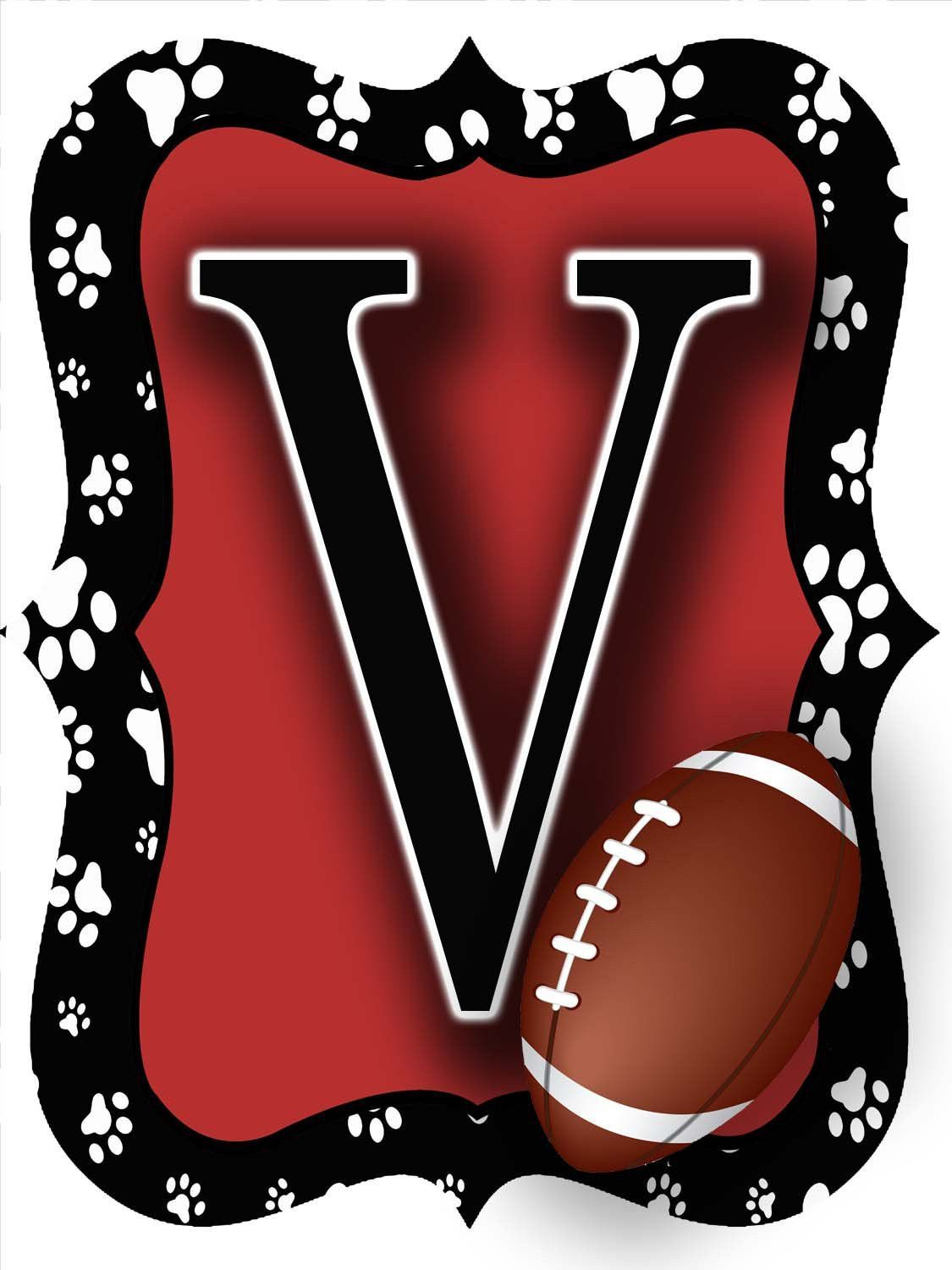 Red u black paw print football door hanger football door hangers