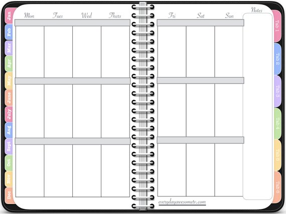 photograph regarding Digital Planners and Organizers called Electronic Planner - Vertical Weekly Incredible Planner inside of Black