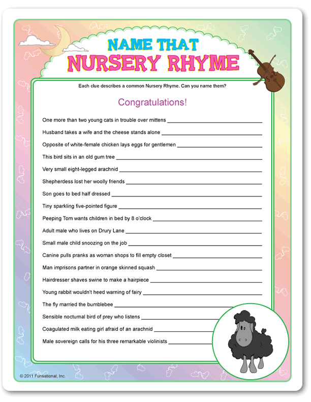 Baby Shower Games · Printable Name That Nursery Rhyme