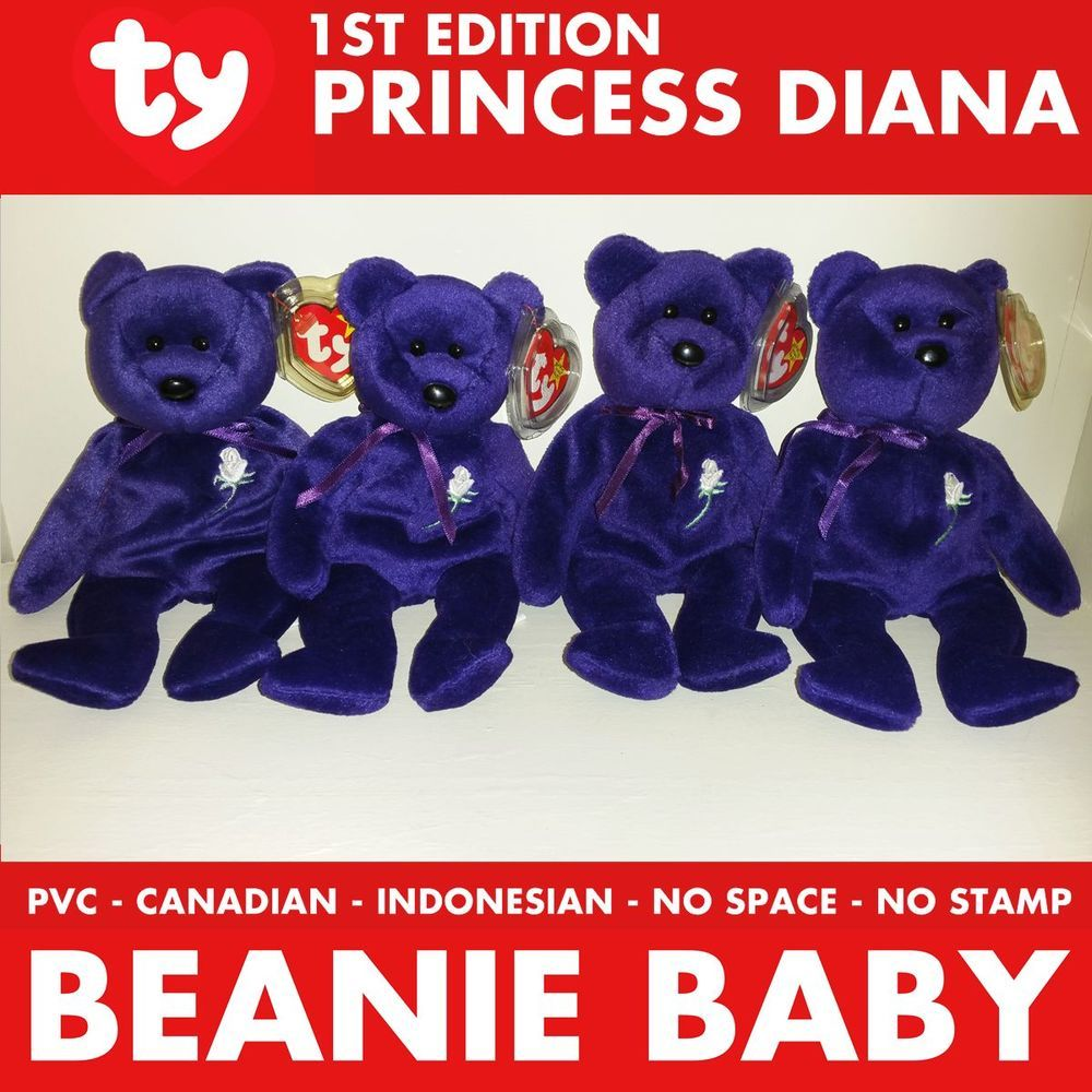 1st Edition Lot Ty Princess Diana Beanie Baby Bear Pvc Canadian