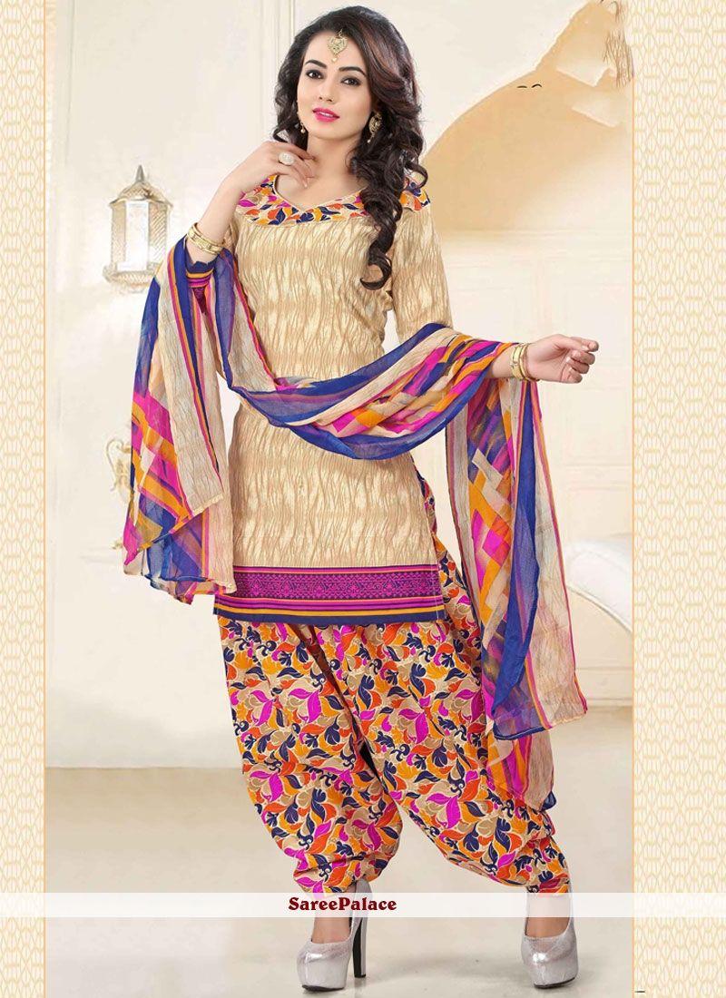 35fa2487c3f Noble Print Work Polly Cotton Punjabi Suit