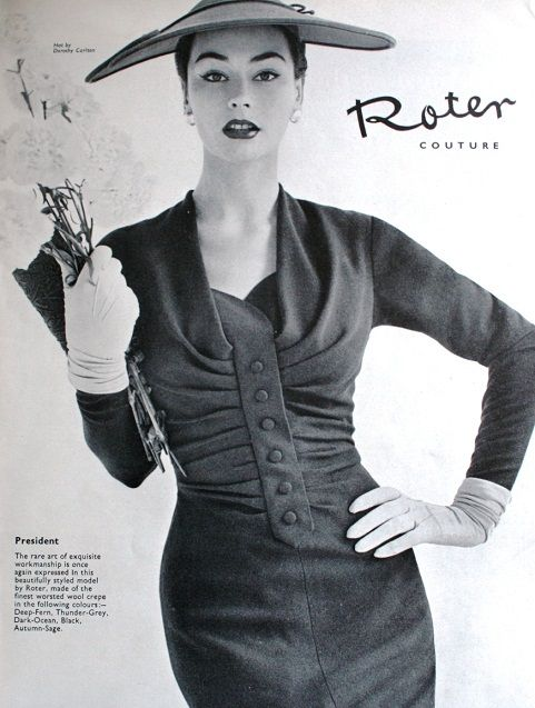 Vogue UK September 1955 Roter Couture | 50s Hats and Dresses ...