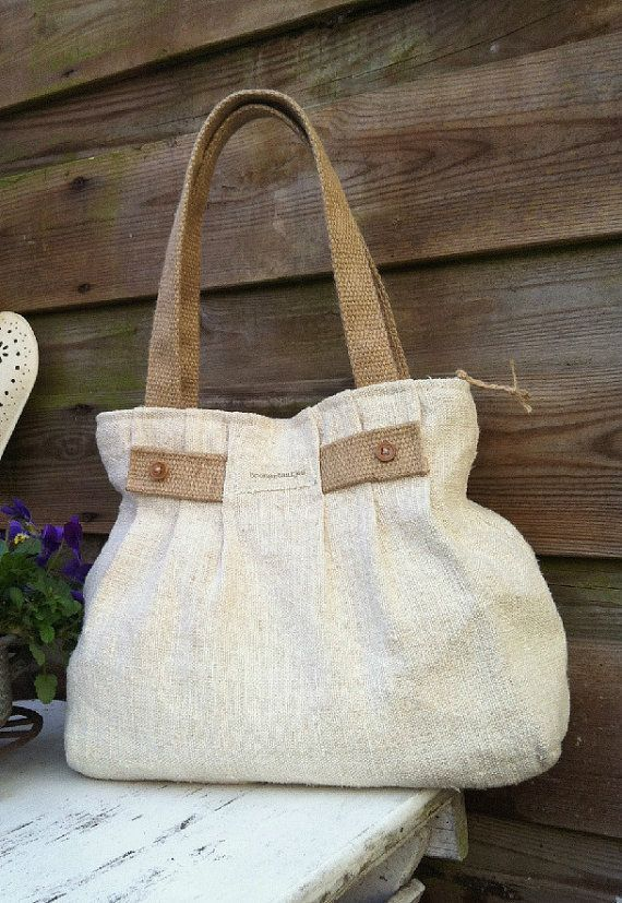 Pleated antique linen shoulder bag purse tote bagantique