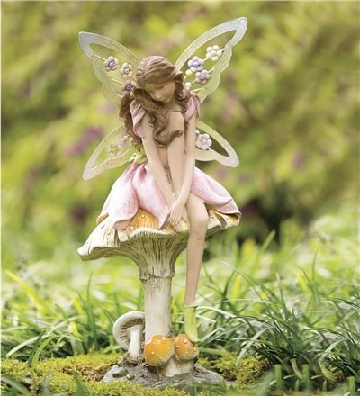 garden fairy figurines. The Fairest One Of All, Our Flower Fairy On Mushroom Garden Statue Will Enchant Your . Figurines A