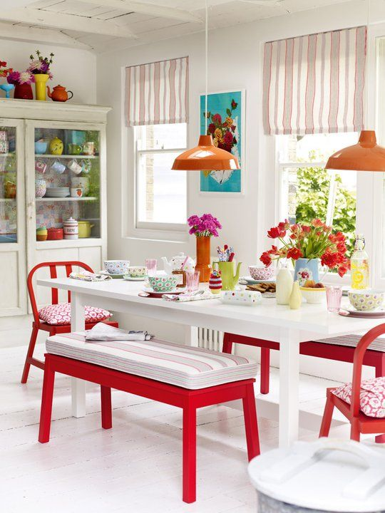 Ikea Bench For A Kitchen Table Comes In White And Red For