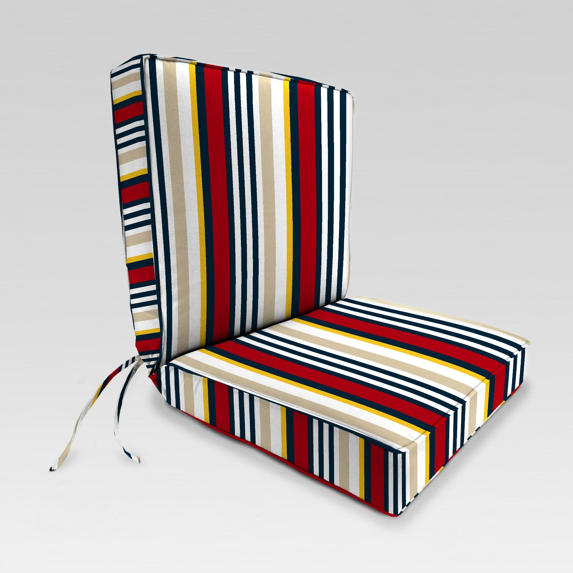 Outdoor Boxed Edge Dining Chair Cushion Red Cream Stripe