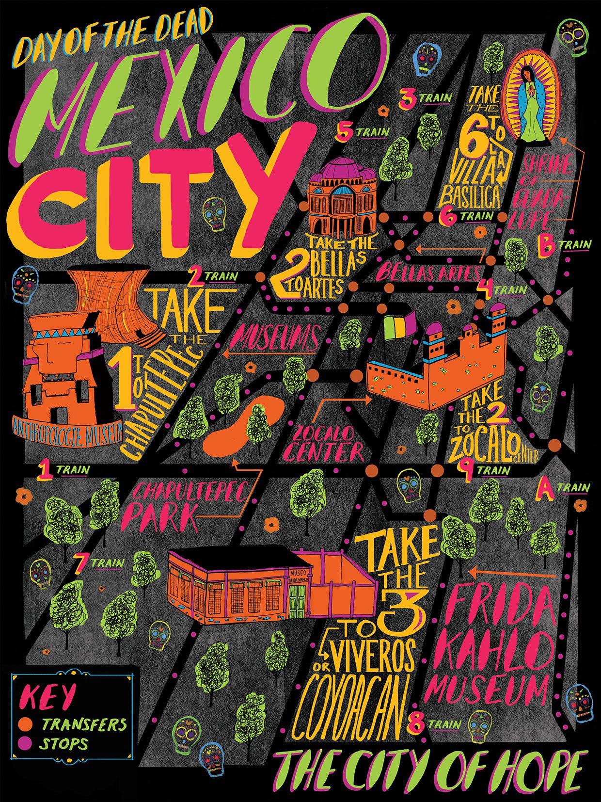 Mexico Map Illustration Maeve Norton Mexico City Map Travel Posters Mexico City Travel