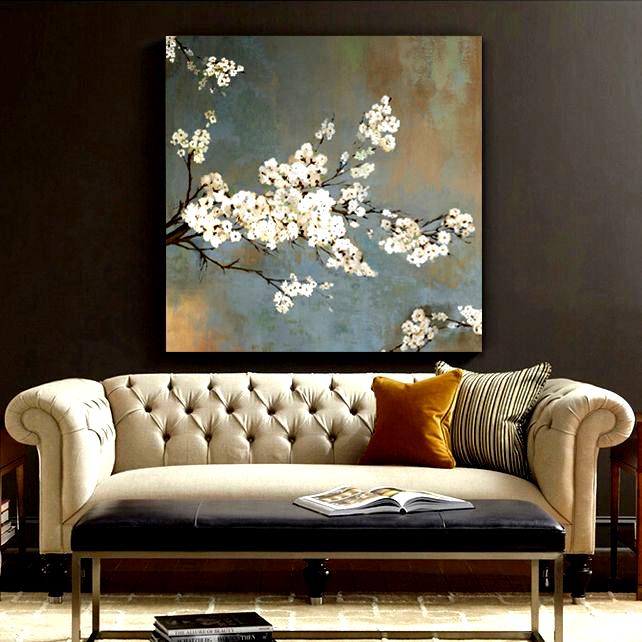 Trova Piu Pittura E Calligrafia Informazioni Su Bianco Cherry Tree Olio Su Tela Wall Art Home Decor Soggior Wall Canvas Flower Canvas Wall Art Canvas Wall Art