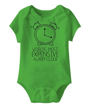 Take a look at this Apple 'Expensive Alarm Clock' Bodysuit - Infant by Urs Truly on #zulily today!
