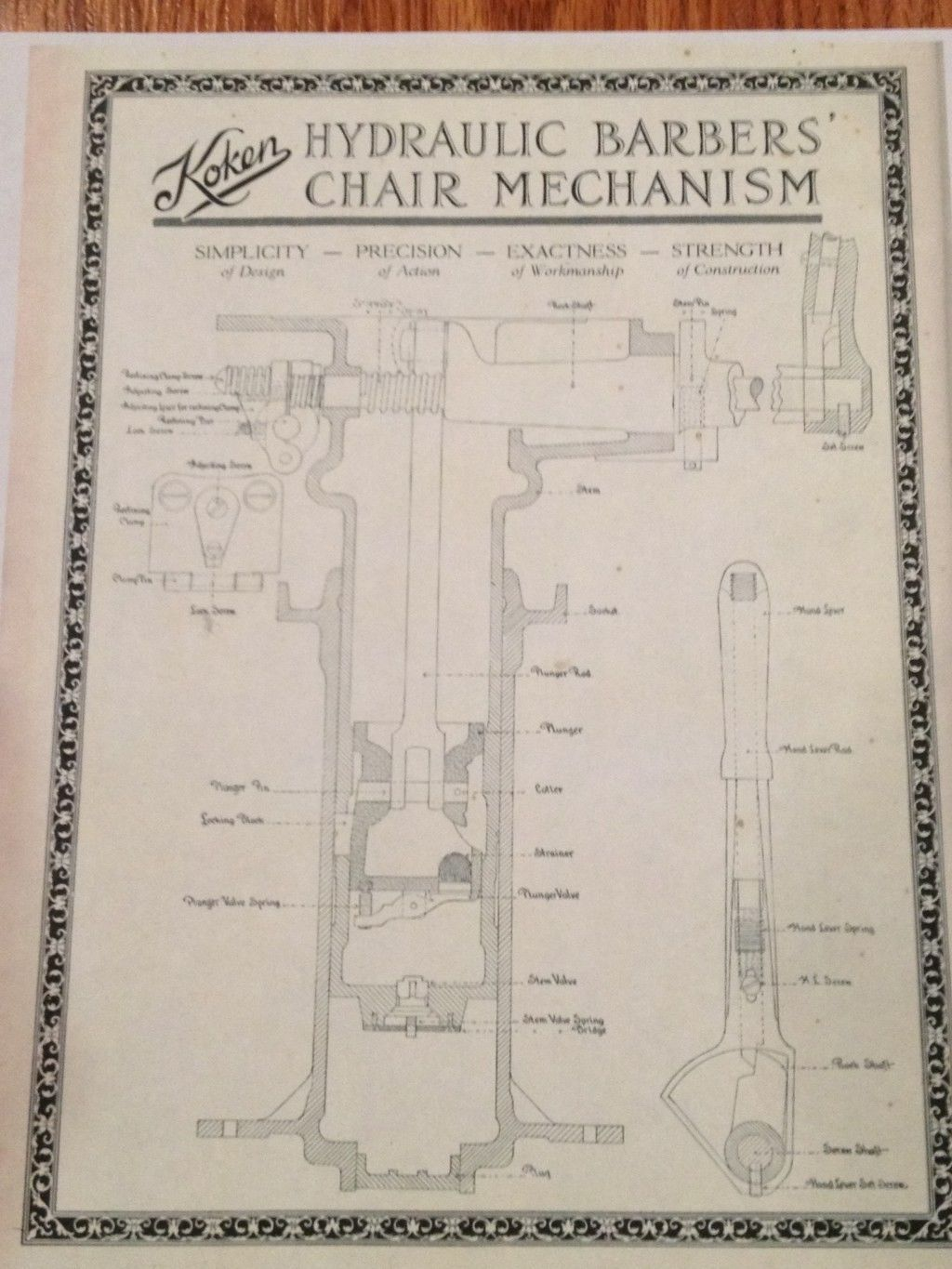 Barber chairs drawing - Antique Koken Barber Chair Hydraulic Schematic