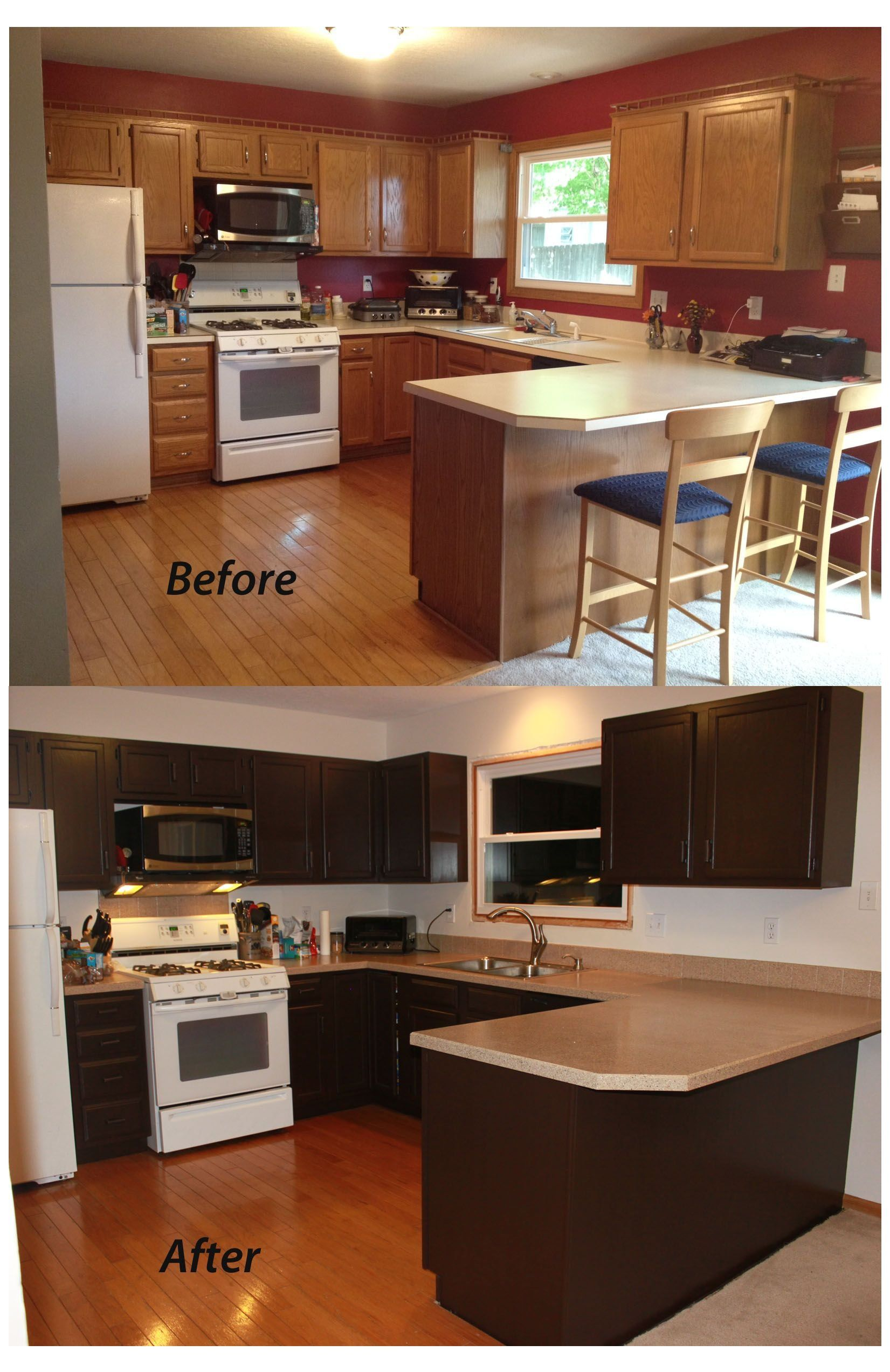 Painting Kitchen Cabinets Dark Brown Kitchen Cabinets Espresso In 2020 Painting Kitchen Cabinets Kitchen Cabinets Painted Before And After Brown Kitchen Cabinets