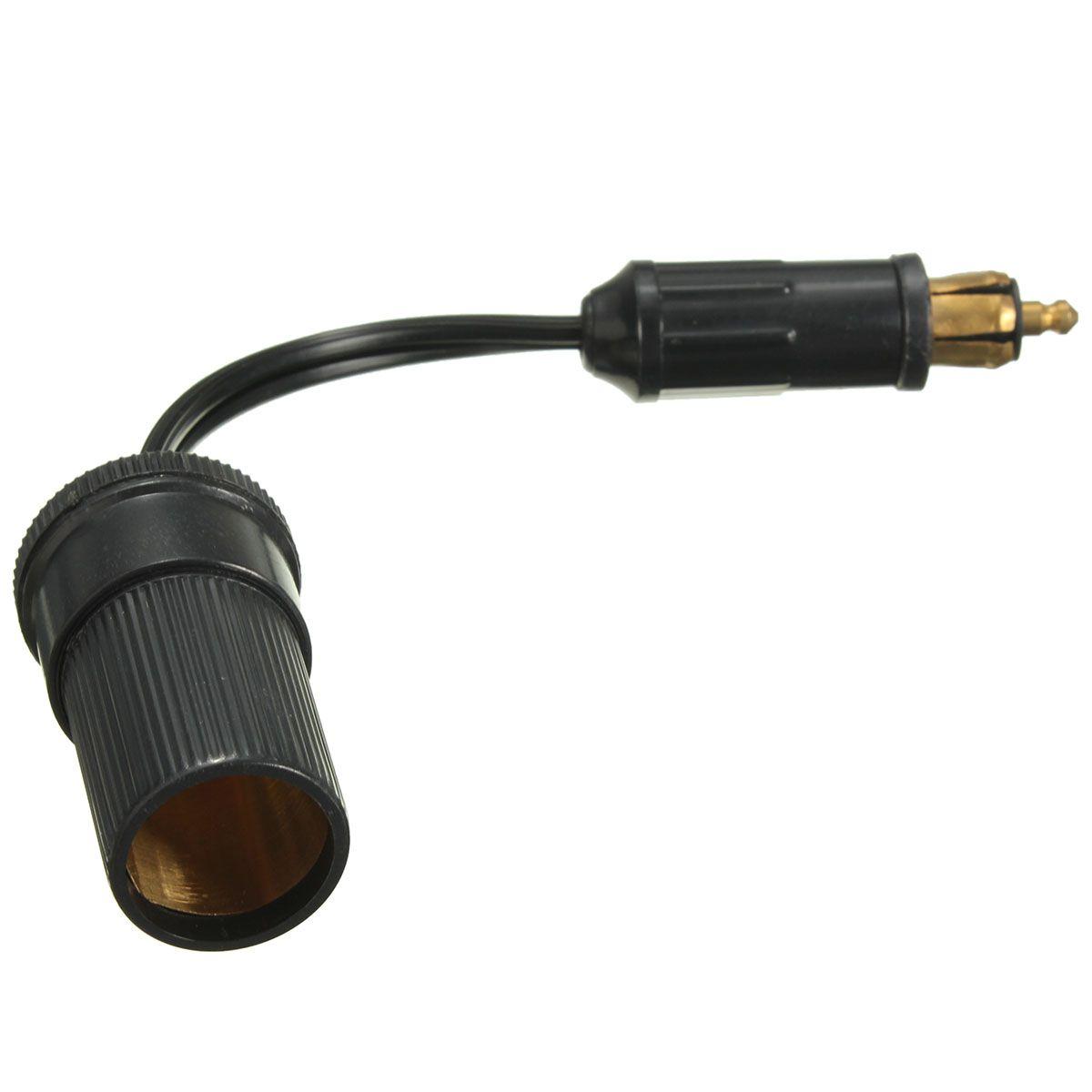 12/24V Black Short Socket Adaptor Converter Cigarette Lighter Plug 8CM Cable For BMW