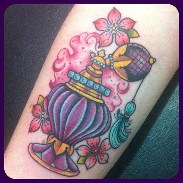 sarahktattoo vintage perfume bottle tattoo   Tattoos, Tattoo