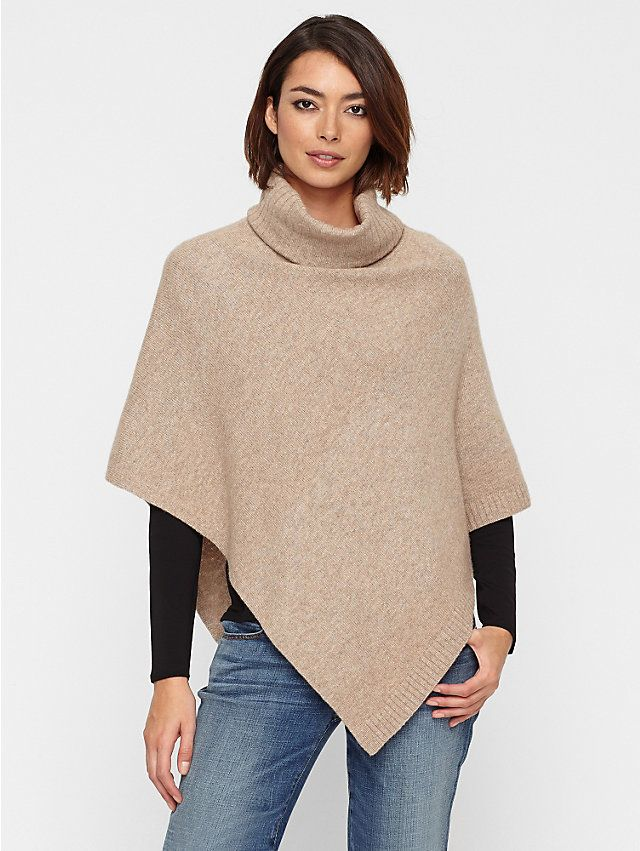 Turtleneck Poncho in Cozy Melange Wool