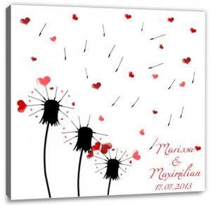 gästebuch mit fingerabdruck | Pusteblume | Fingerabdruck Leinwand | Spiel & Gästebuch