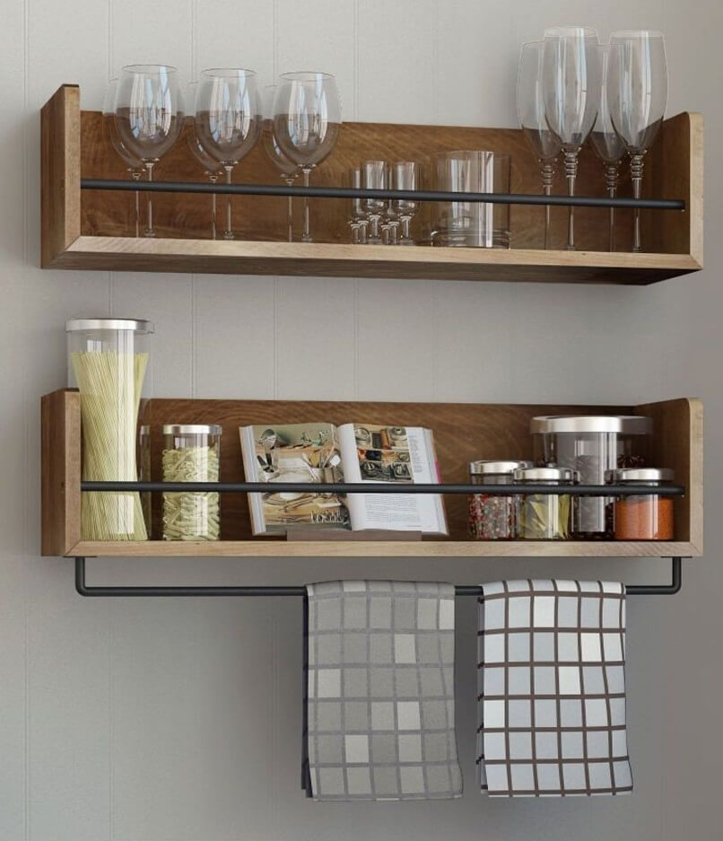 Wooden Wall Mounted Kitchen Shelves