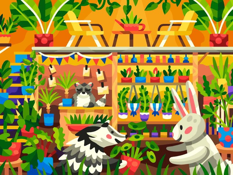 Animal Flower Shop In 2020 Coloring Books Kids Rugs Illustration Design