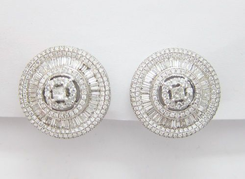 2.96CT F SI1 Diamond Earrings 18K White Gold - IDJ014334