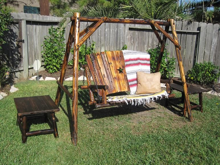A Nice Relaxing Backyard Spot With Leigh Countryu0027s Char Log Swing And End  Table :