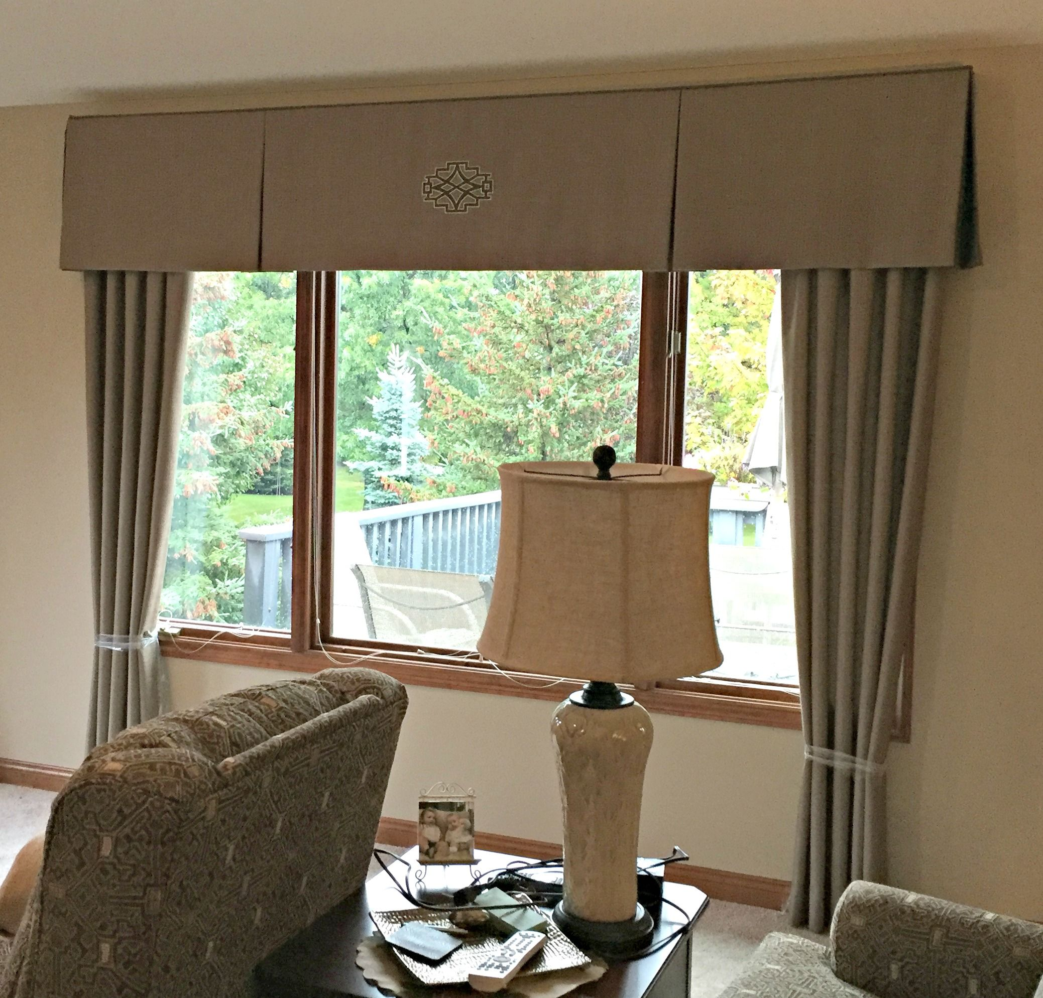 We fabricated these taupe drapery panels with