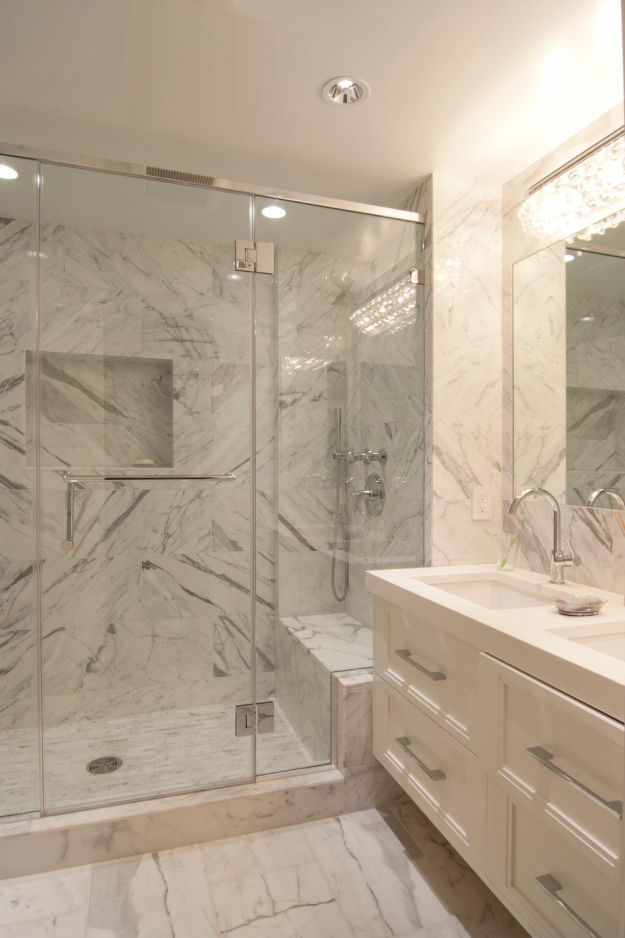 Luxurious Marble Walk In Shower And Floating Vanity Hgtv