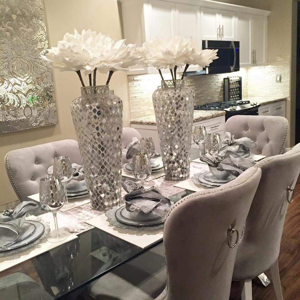 Silver And White Dining Room Table Centerpieces Dining Room Design Dinning Room Decor