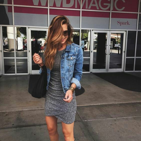 Love the tight, comfy dress and jean jacket pairing.
