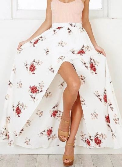 72428932a Bohemian High Waist Floral Printed Slit Maxi Skirt | Fashion Outfits ...