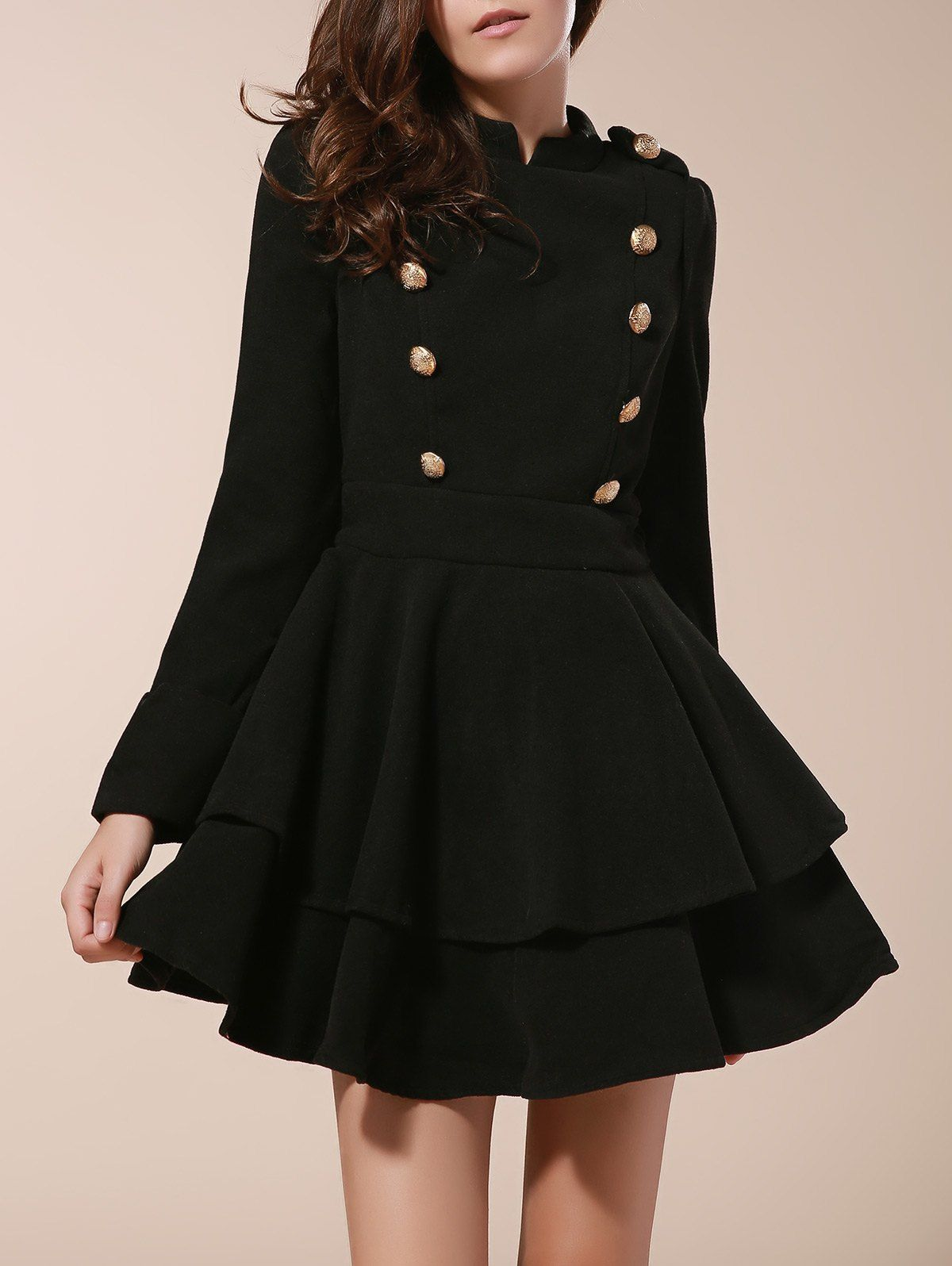 Vintage Stand Collar Buttons Embellished Long Sleeve Ruffles Womenus