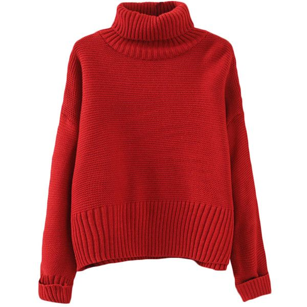 Red Oversize Womens High Collar Knit Plain Pullover Sweater (€17) ❤ liked on Polyvore featuring tops, sweaters, red, over sized sweaters, oversized red sweater, oversized tops, red pullover sweater and oversized sweater