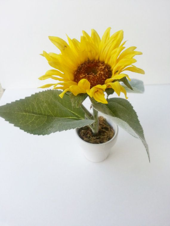 Silk Sunflower Pot by Yourfloweruniverse on Etsy, $4.99