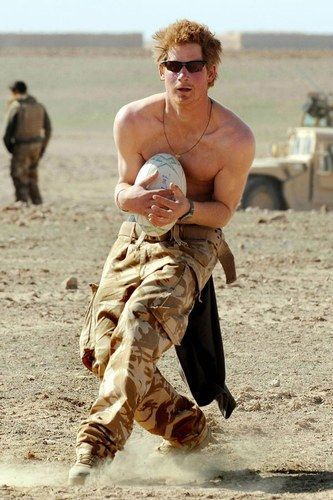 So manly! Prince Harry plays rugby in Afghanistan.