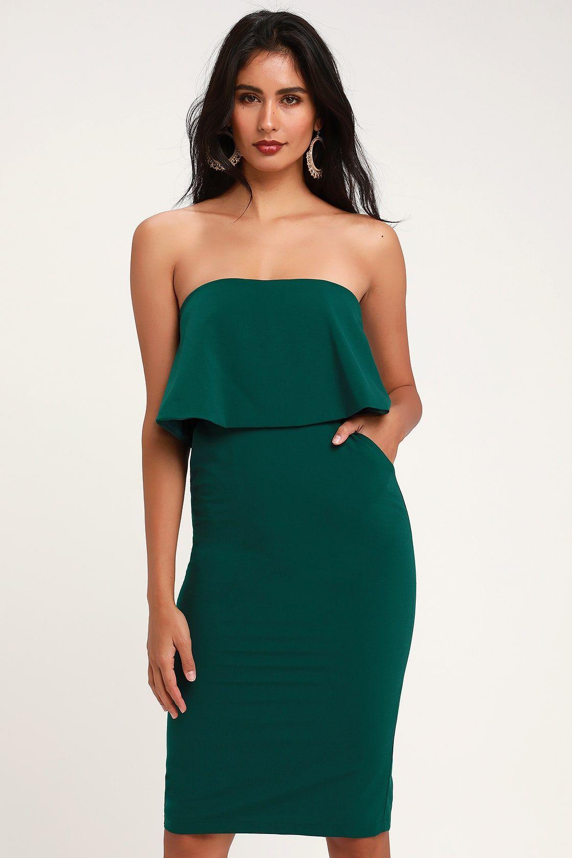 Lots Of Love Emerald Green Strapless Midi Dress Strapless Midi Dress Satin Midi Dress Green Formal Dresses [ 1680 x 1120 Pixel ]